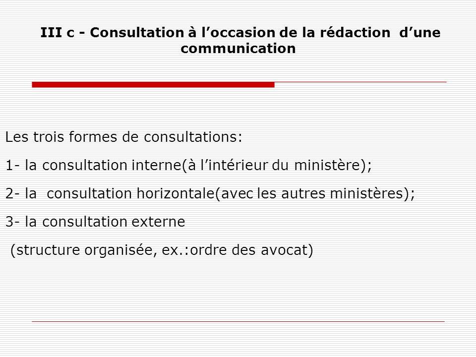 III c - Consultation à loccasion de la rédaction dune communication Les trois formes de consultations: 1- la consultation interne(à lintérieur du mini