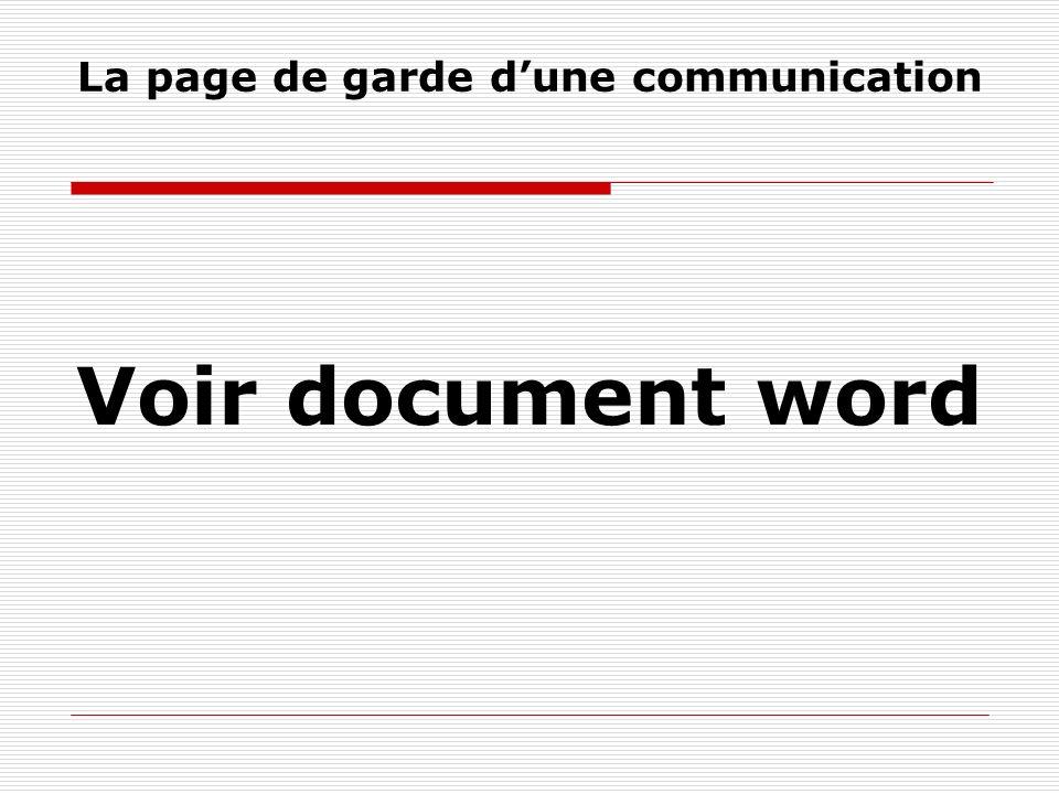 La page de garde dune communication Voir document word