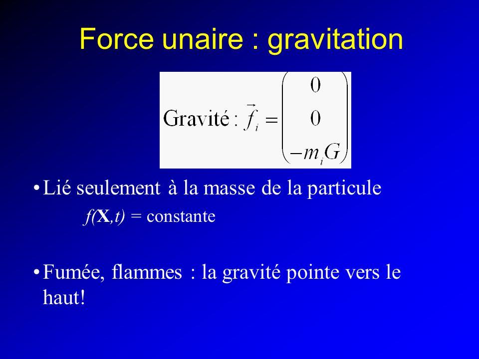 Force unaire : gravitation Lié seulement à la masse de la particule f(X,t) = constante Fumée, flammes : la gravité pointe vers le haut!