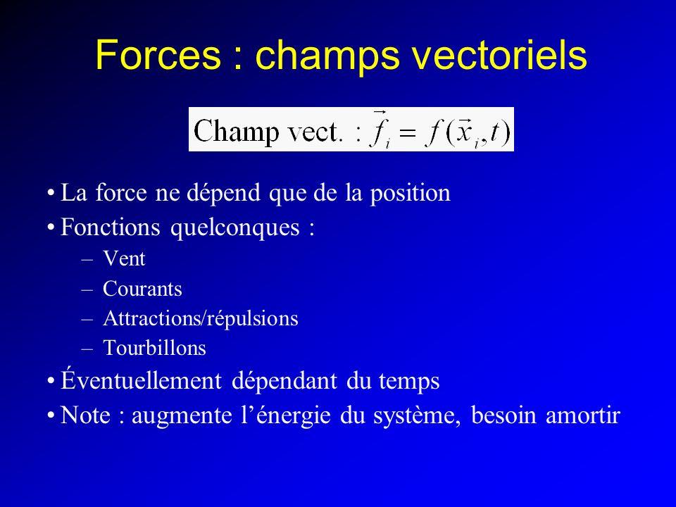 Forces : champs vectoriels La force ne dépend que de la position Fonctions quelconques : –Vent –Courants –Attractions/répulsions –Tourbillons Éventuel