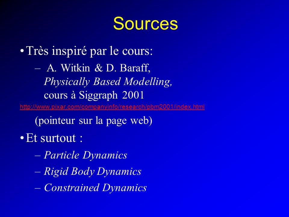 Sources Très inspiré par le cours: – A. Witkin & D. Baraff, Physically Based Modelling, cours à Siggraph 2001 http://www.pixar.com/companyinfo/researc