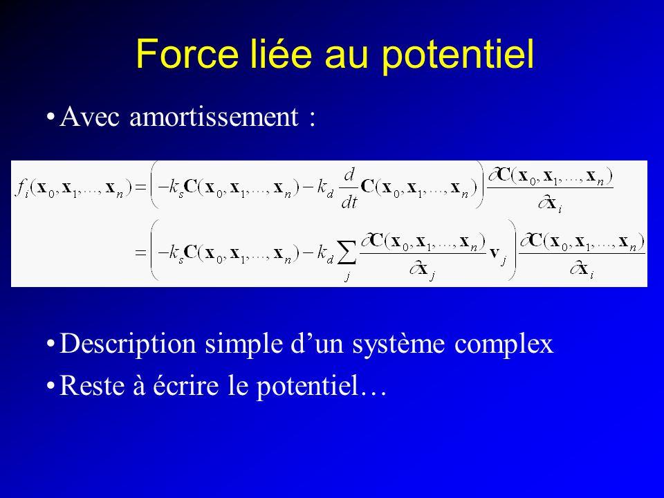Force liée au potentiel Avec amortissement : Description simple dun système complex Reste à écrire le potentiel…
