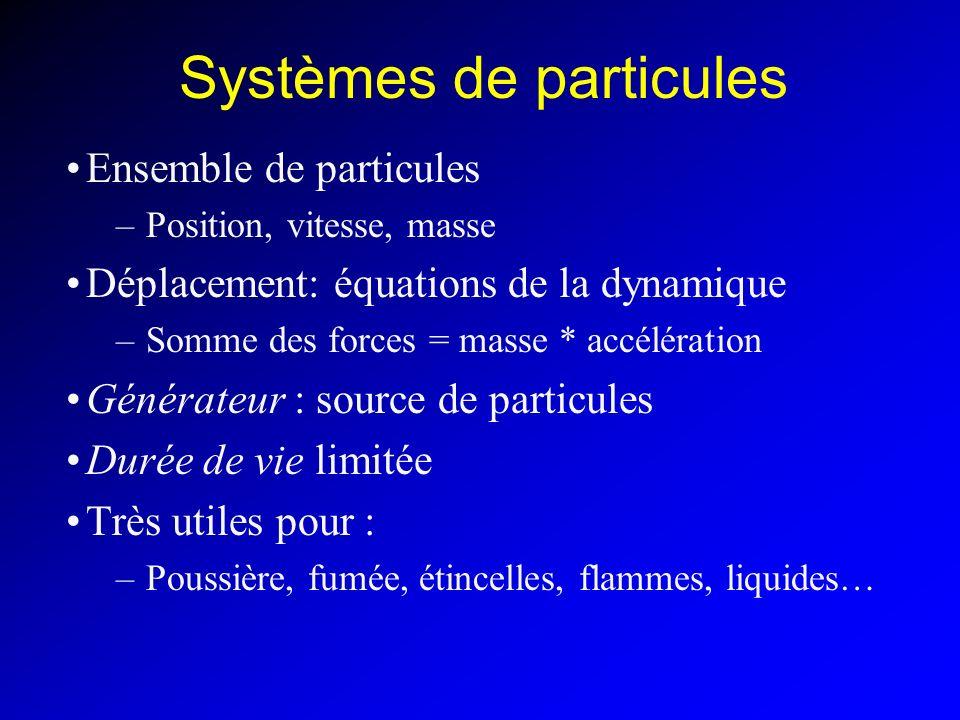 Systèmes masse-ressort Idem systèmes de particules –Particules appelées « masses » Structure donnée Les masses font partie du modèle : –Pas de création, pas de destruction, pas dâge Ressorts qui relient les masses : –Les forces ne sont plus universelles –Chaque force connaît les masses sur lesquelles elle agit