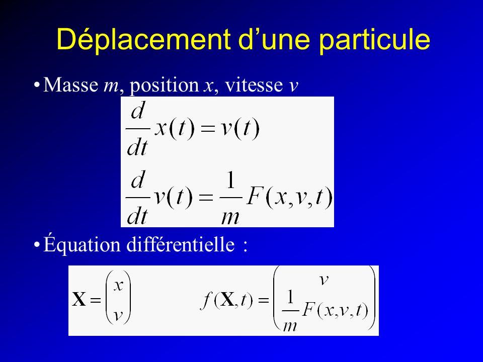 Équation différentielle Pour une particule :