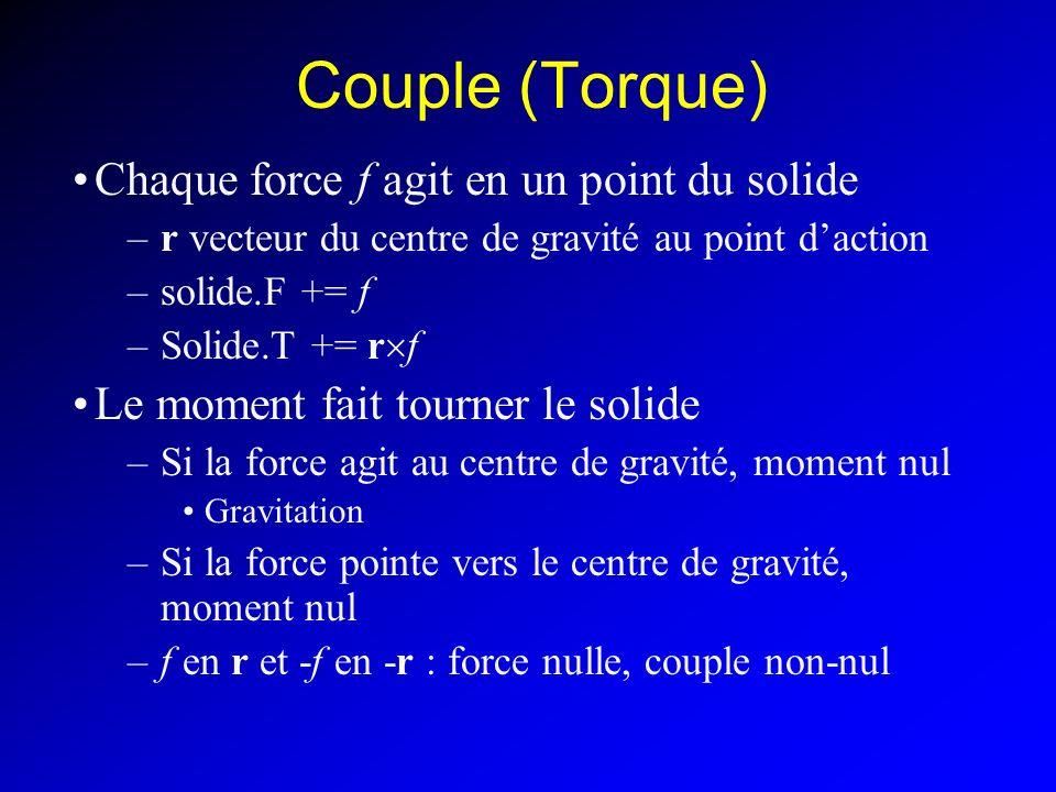 Couple (Torque) Chaque force f agit en un point du solide –r vecteur du centre de gravité au point daction –solide.F += f –Solide.T += r f Le moment f