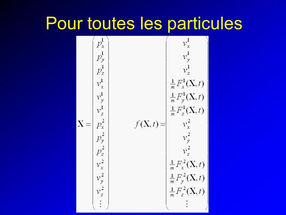 Implémentation Structure particule: –Masse m, position x, vitesse v, force f –Version simple : typedef struct { float m; float x[3]; float v[3]; float f[3]; } *Particule; –Vecteur global particules stocke toutes les particules