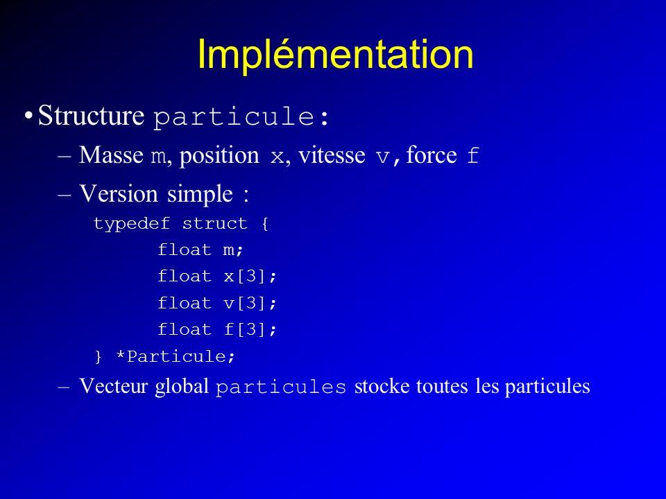 Version moins simple Tableau des positions Particule = index i dans tableau des positions X X[i+0] particule.position.x X[i+1] particule.position.y X[i+2] particule.position.z X[i+3] particule.vitesse.x X[i+4] particule.vitesse.y X[i+5] particule.vitesse.z Calcul de la fonction dérivée : F[i+0] particule.vitesse.x F[i+1] particule.vitesse.y F[i+2] particule.vitesse.z F[i+3] particule.force.x/m[i] F[i+4] particule.force.y/m[i] F[i+5] particule.force.z/m[i]
