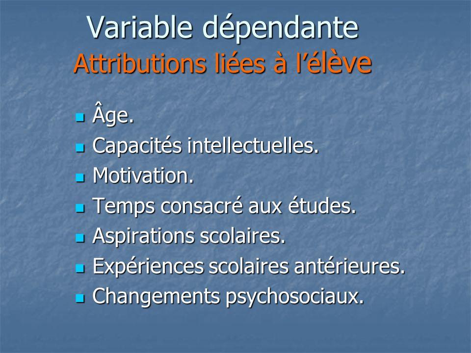 Variable dépendante Attributions liées à lé lève Âge.