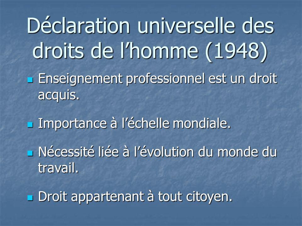 Déclaration universelle des droits de lhomme (1948) Enseignement professionnel est un droit acquis.