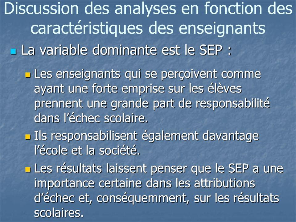 Discussion des analyses en fonction des caractéristiques des enseignants La variable dominante est le SEP : La variable dominante est le SEP : Les enseignants qui se perçoivent comme ayant une forte emprise sur les élèves prennent une grande part de responsabilité dans léchec scolaire.