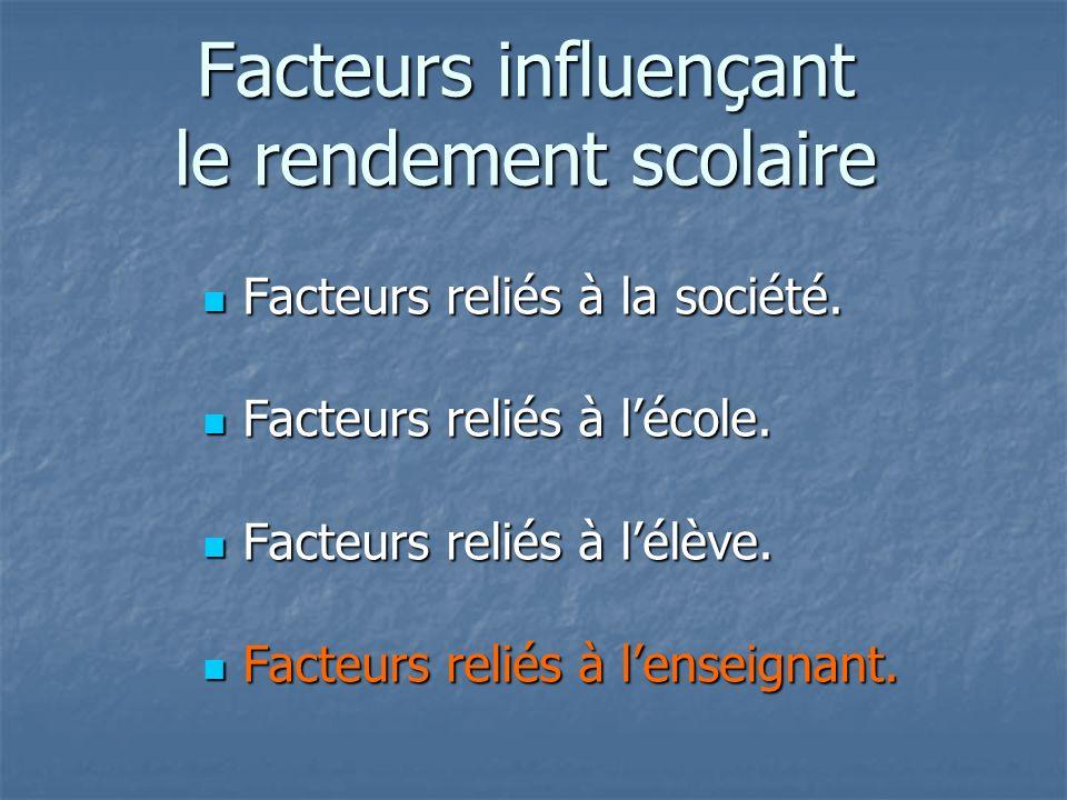 En résumé Facteurs influençant le rendement scolaire Facteurs influençant le rendement scolaire: Facteurs reliés à lenseignant.