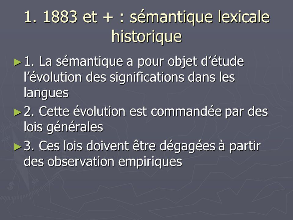 1. 1883 et + : sémantique lexicale historique 1. La sémantique a pour objet détude lévolution des significations dans les langues 1. La sémantique a p