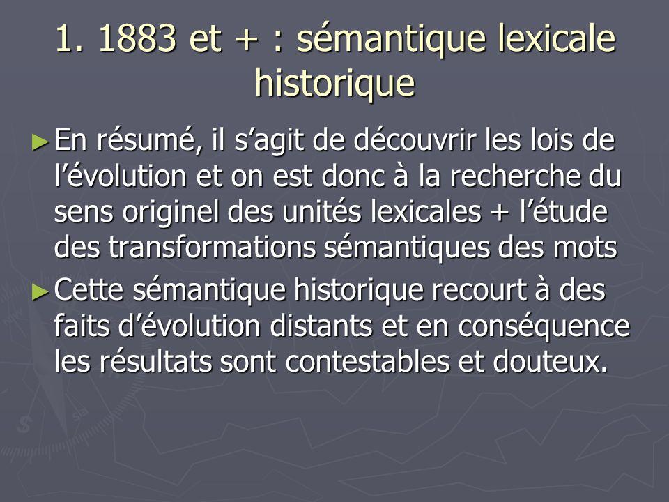 1. 1883 et + : sémantique lexicale historique En résumé, il sagit de découvrir les lois de lévolution et on est donc à la recherche du sens originel d