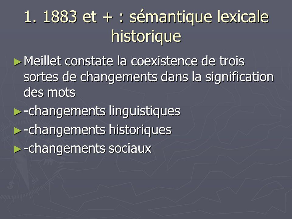 1. 1883 et + : sémantique lexicale historique Meillet constate la coexistence de trois sortes de changements dans la signification des mots Meillet co