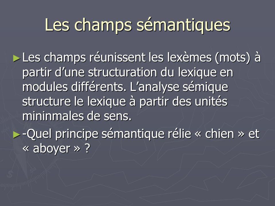 Les champs sémantiques Les champs réunissent les lexèmes (mots) à partir dune structuration du lexique en modules différents. Lanalyse sémique structu