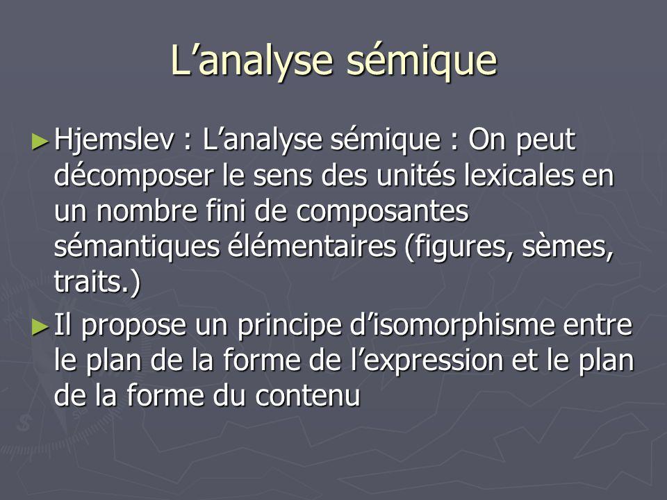 Lanalyse sémique Hjemslev : Lanalyse sémique : On peut décomposer le sens des unités lexicales en un nombre fini de composantes sémantiques élémentair