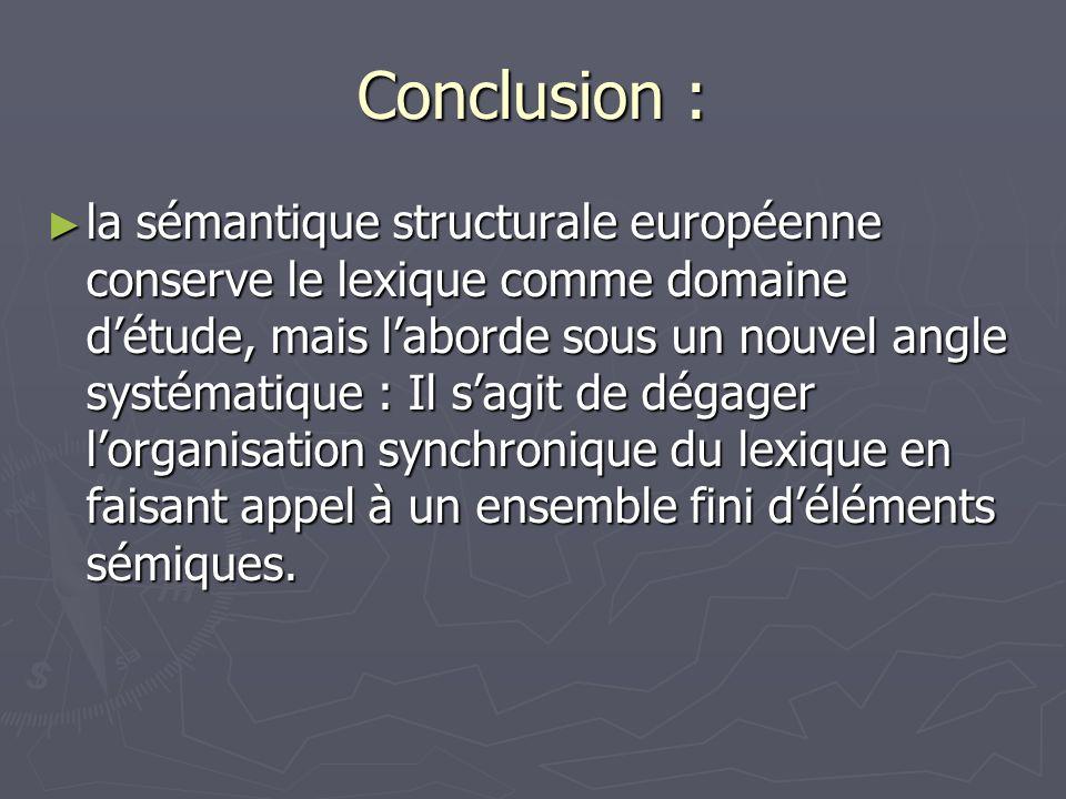 Conclusion : la sémantique structurale européenne conserve le lexique comme domaine détude, mais laborde sous un nouvel angle systématique : Il sagit