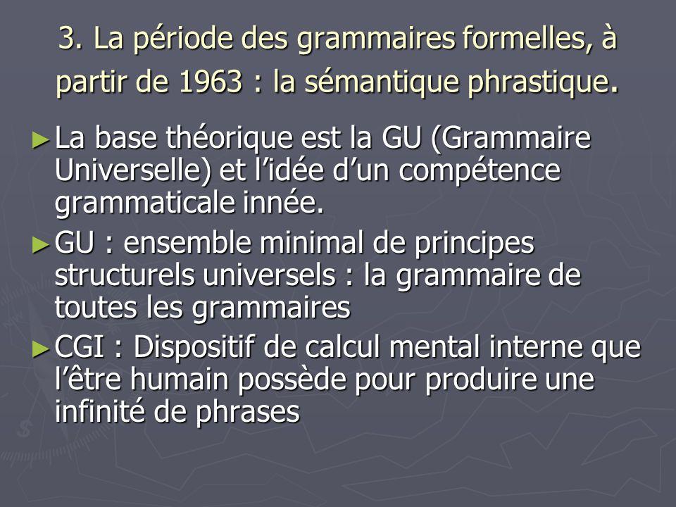 3. La période des grammaires formelles, à partir de 1963 : la sémantique phrastique. La base théorique est la GU (Grammaire Universelle) et lidée dun