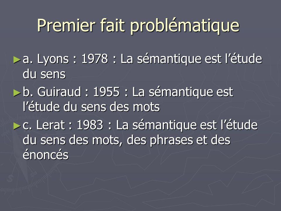 Premier fait problématique Premier fait problématique a. Lyons : 1978 : La sémantique est létude du sens a. Lyons : 1978 : La sémantique est létude du