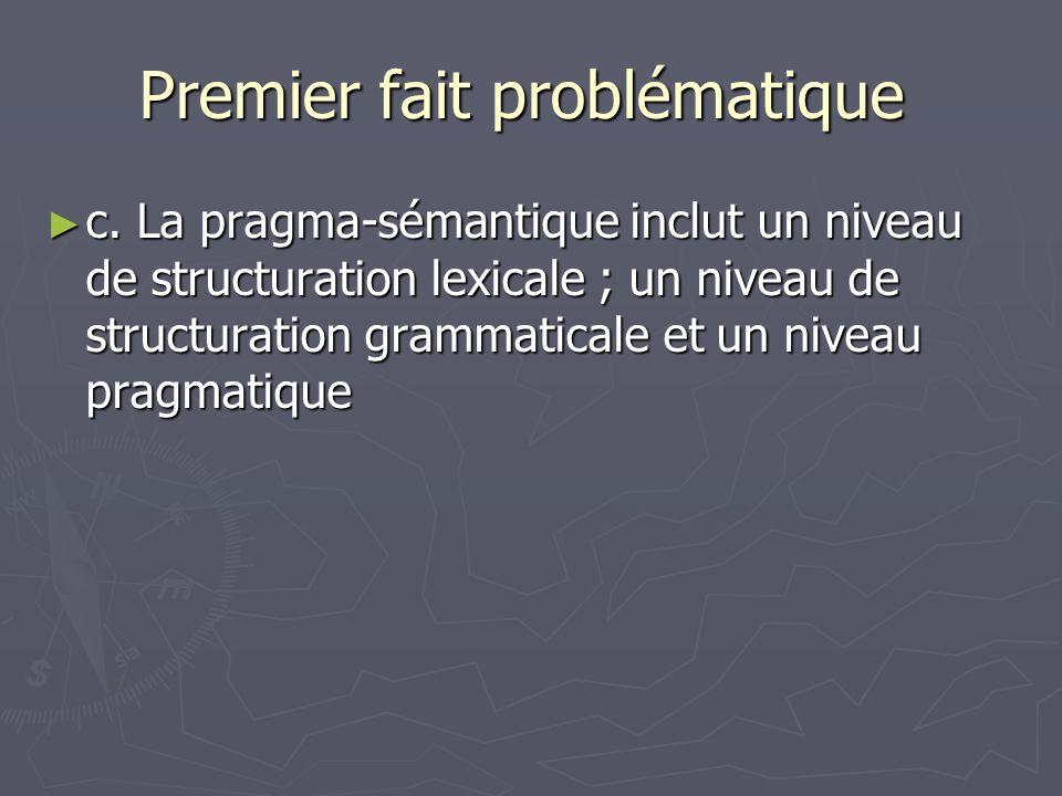Premier fait problématique Premier fait problématique c. La pragma-sémantique inclut un niveau de structuration lexicale ; un niveau de structuration