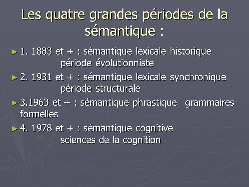 Les quatre grandes périodes de la sémantique : 1. 1883 et + : sémantique lexicale historique période évolutionniste 1. 1883 et + : sémantique lexicale