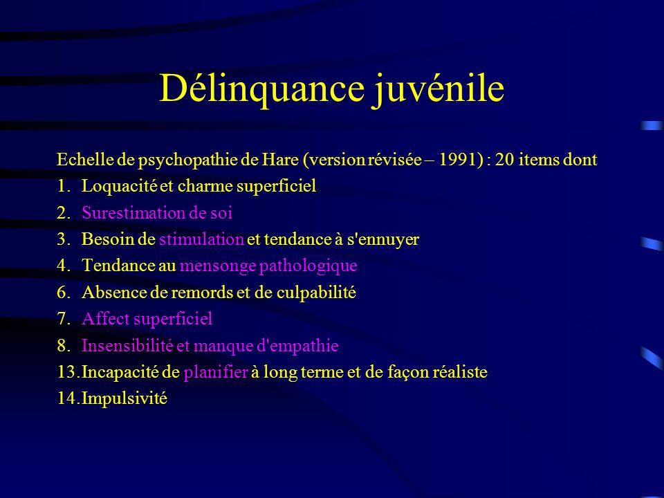 Délinquance juvénile Echelle de psychopathie de Hare (version révisée – 1991) : 20 items dont 1.Loquacité et charme superficiel 2.Surestimation de soi