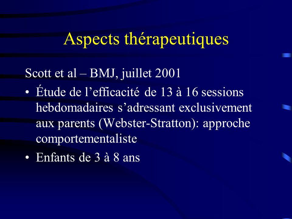 Aspects thérapeutiques Scott et al – BMJ, juillet 2001 Étude de lefficacité de 13 à 16 sessions hebdomadaires sadressant exclusivement aux parents (Webster-Stratton): approche comportementaliste Enfants de 3 à 8 ans