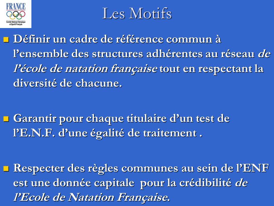 Les Motifs Définir un cadre de référence commun à lensemble des structures adhérentes au réseau de lécole de natation française tout en respectant la diversité de chacune.