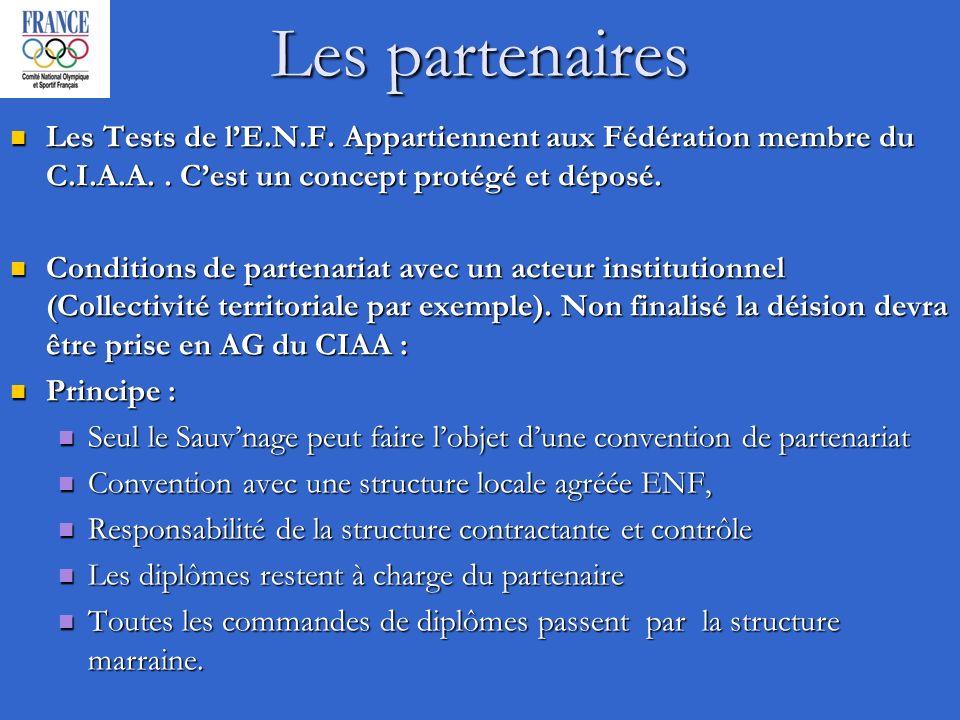 Les partenaires Les Tests de lE.N.F. Appartiennent aux Fédération membre du C.I.A.A..