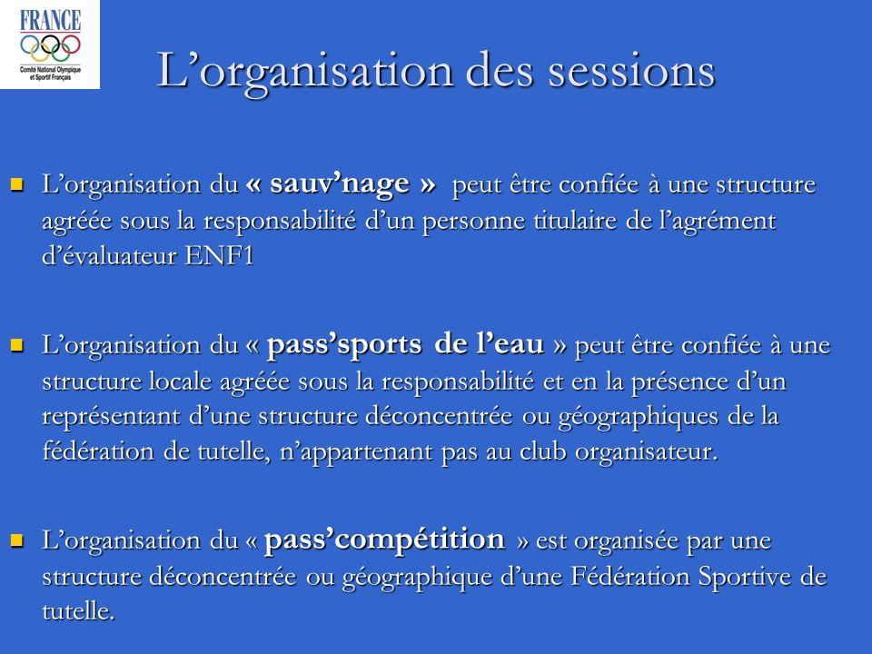 Lorganisation des sessions Lorganisation du « sauvnage » peut être confiée à une structure agréée sous la responsabilité dun personne titulaire de lag