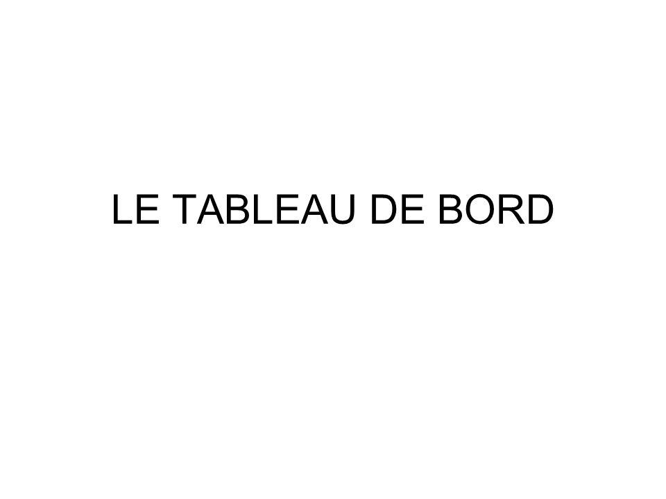 LE TABLEAU DE BORD