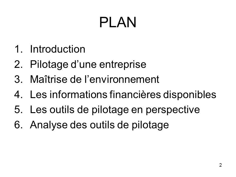 2 PLAN 1.Introduction 2.Pilotage dune entreprise 3.Maîtrise de lenvironnement 4.Les informations financières disponibles 5.Les outils de pilotage en perspective 6.Analyse des outils de pilotage
