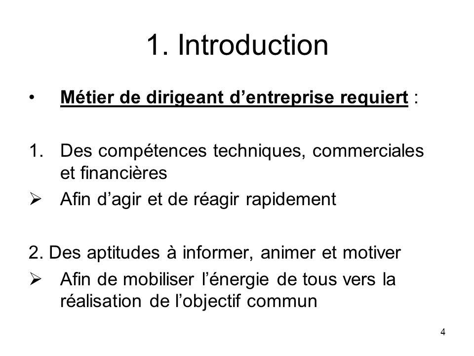 4 1. Introduction Métier de dirigeant dentreprise requiert : 1.Des compétences techniques, commerciales et financières Afin dagir et de réagir rapidem