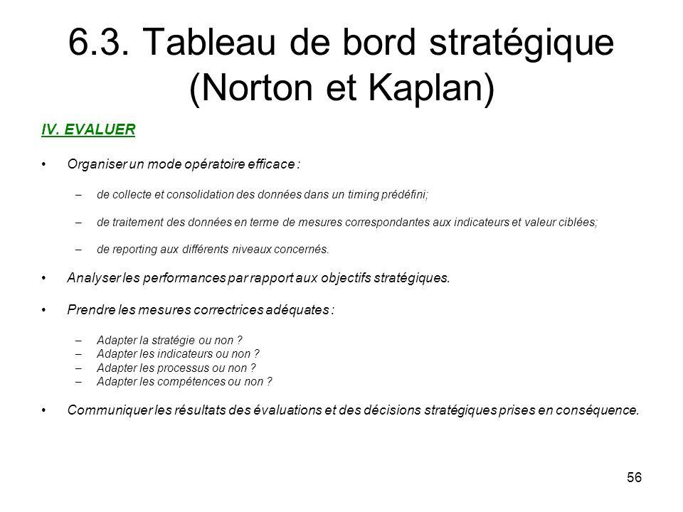 56 6.3.Tableau de bord stratégique (Norton et Kaplan) IV.