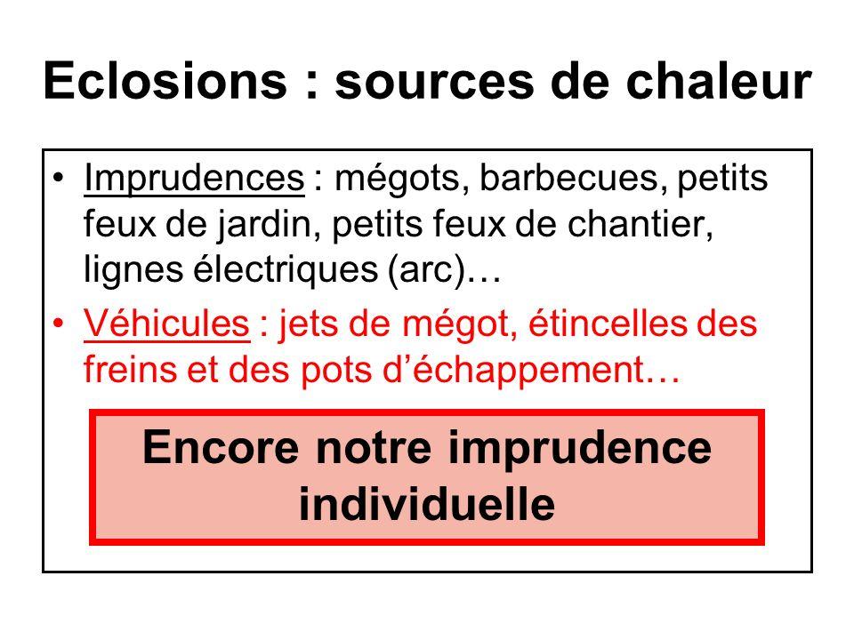 Eclosions : sources de chaleur Imprudences : mégots, barbecues, petits feux de jardin, petits feux de chantier, lignes électriques (arc)… Cest limprud