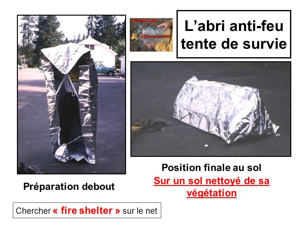 Labri anti-feu tente de survie Préparation debout Chercher « fire shelter » sur le net