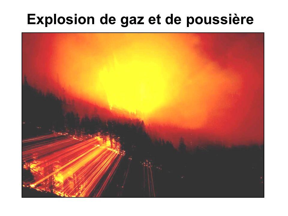 Les gaz de pyrolyse Lexplosion se propage de proche en proche dans une immense nappe de gaz