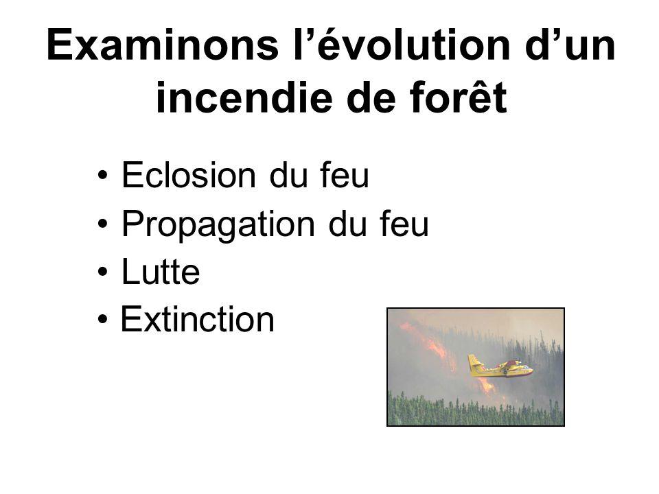 Examinons lévolution dun incendie de forêt Eclosion du feu Propagation du feu Lutte