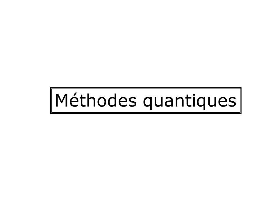 Utilisation des méthodes quantiques Détermination de la structure électronique (orbitales, charges atomiques, potentiel électrostatique, aspects stéréoélectroniques) Détermination des énergies Détermination des géométries Recherche des états de transition Effets de solvant
