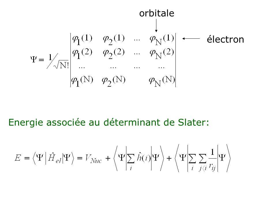 lintégration porte sur un électron quelconque, ici lélectron 1 lintégration porte sur deux électrons quelconques, ici les électrons 1 et 2 J ij = intégrale biélectronique coulombienne K ij = intégrale biélectronique déchange