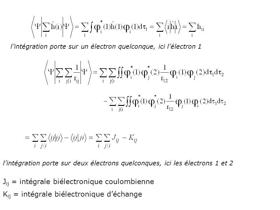 lintégration porte sur un électron quelconque, ici lélectron 1 lintégration porte sur deux électrons quelconques, ici les électrons 1 et 2 J ij = inté