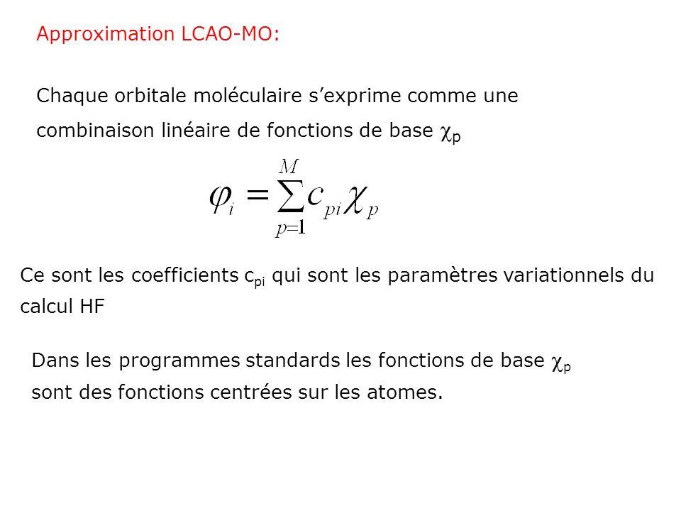 Choix des fonctions de bases 3 considérations à prendre en compte: (i) La nature des fonctions doit avoir un sens dun point de vue physique; (ii) Il faut choisir une forme de fonctions qui permet un calcul efficace des intégrales qui apparaissent dans les équations HF; (iii) Il faut garder un nombre de fonctions minimum (à cause de la progression de la longueur du calcul en N 4 );
