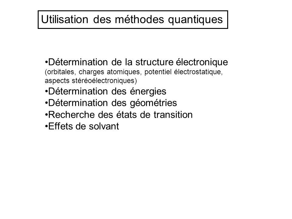 Utilisation des méthodes quantiques Détermination de la structure électronique (orbitales, charges atomiques, potentiel électrostatique, aspects stéré