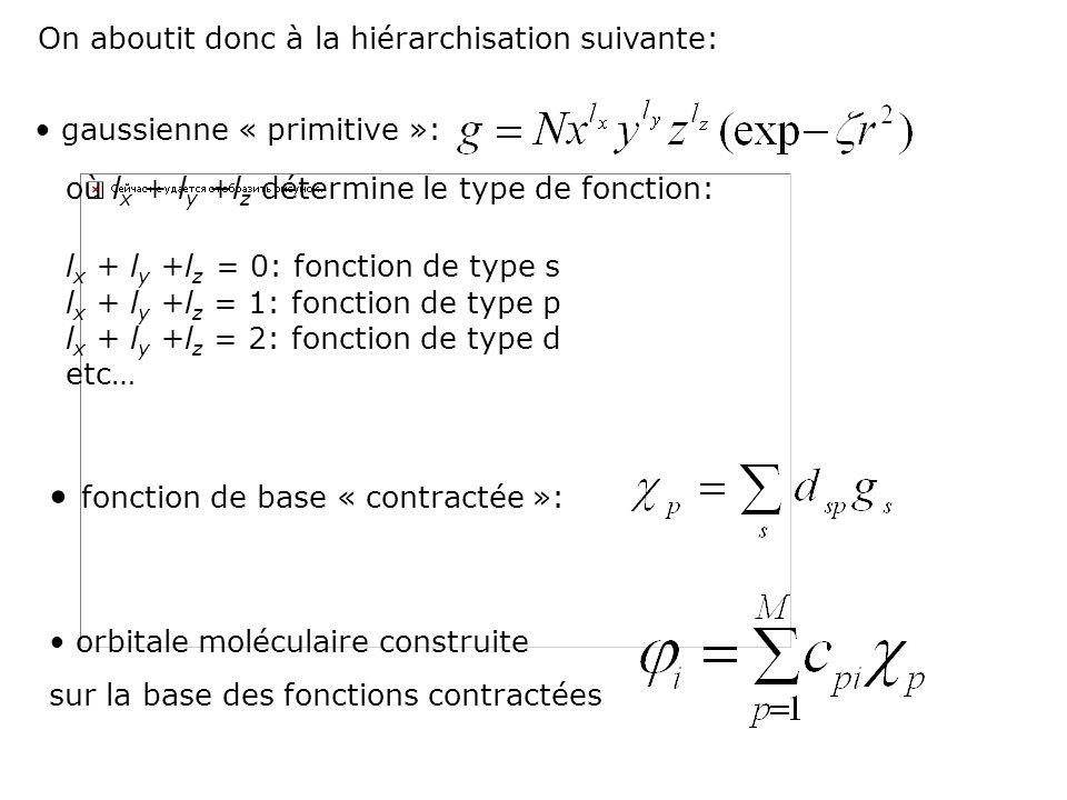 où l x + l y +l z détermine le type de fonction: l x + l y +l z = 0: fonction de type s l x + l y +l z = 1: fonction de type p l x + l y +l z = 2: fon