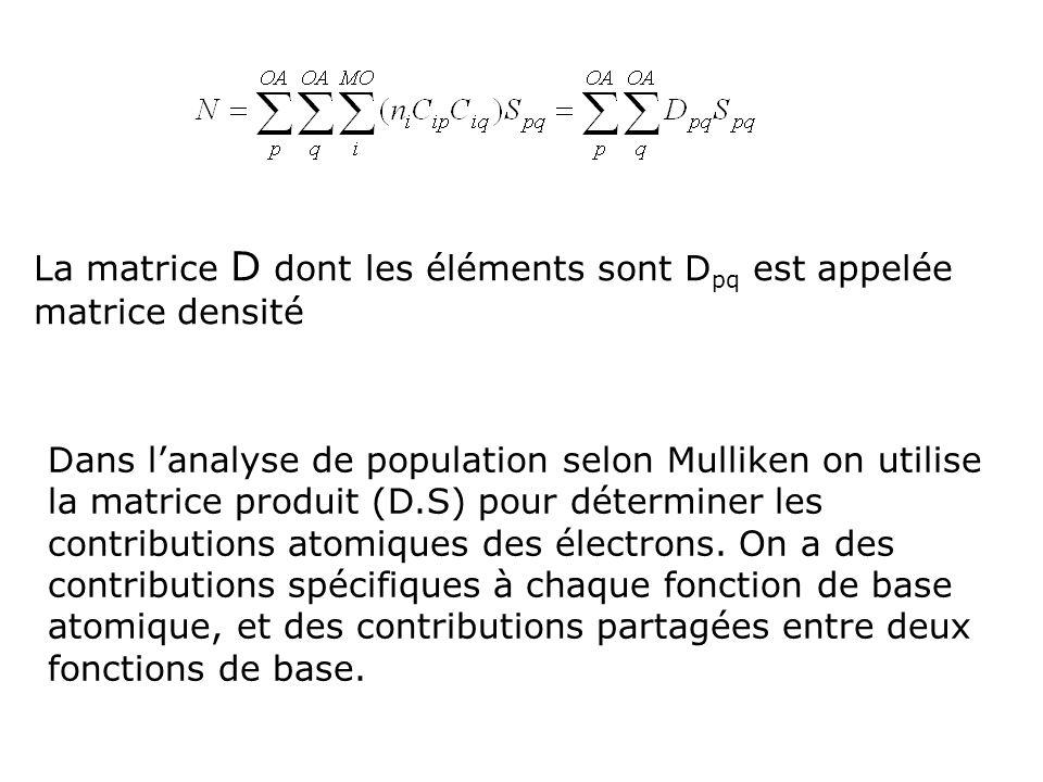 La matrice D dont les éléments sont D pq est appelée matrice densité Dans lanalyse de population selon Mulliken on utilise la matrice produit (D.S) po