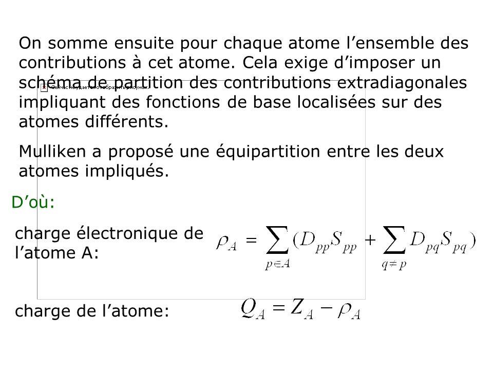 On somme ensuite pour chaque atome lensemble des contributions à cet atome. Cela exige dimposer un schéma de partition des contributions extradiagonal