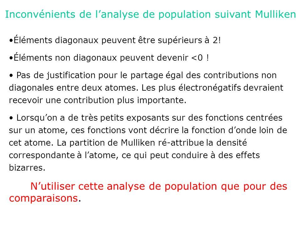 Inconvénients de lanalyse de population suivant Mulliken Éléments diagonaux peuvent être supérieurs à 2! Éléments non diagonaux peuvent devenir <0 ! P