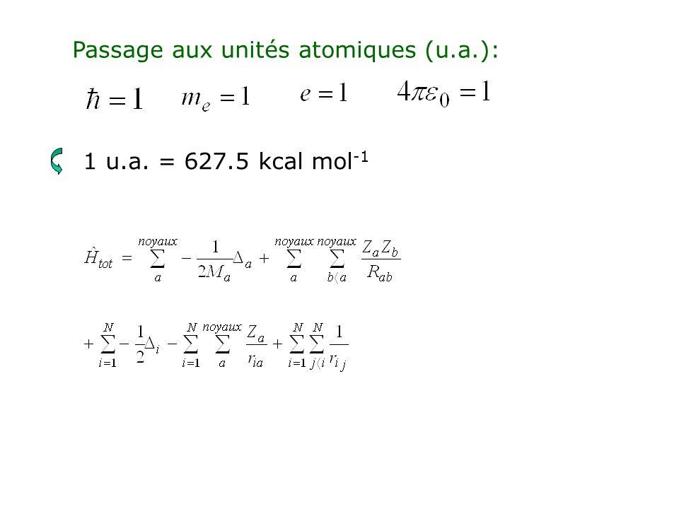 1ère approximation: Born-Oppenheimer: Les noyaux sont supposés fixes par rapport aux électrons tot = nucl (coord.