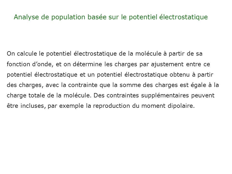 Analyse de population basée sur le potentiel électrostatique On calcule le potentiel électrostatique de la molécule à partir de sa fonction donde, et