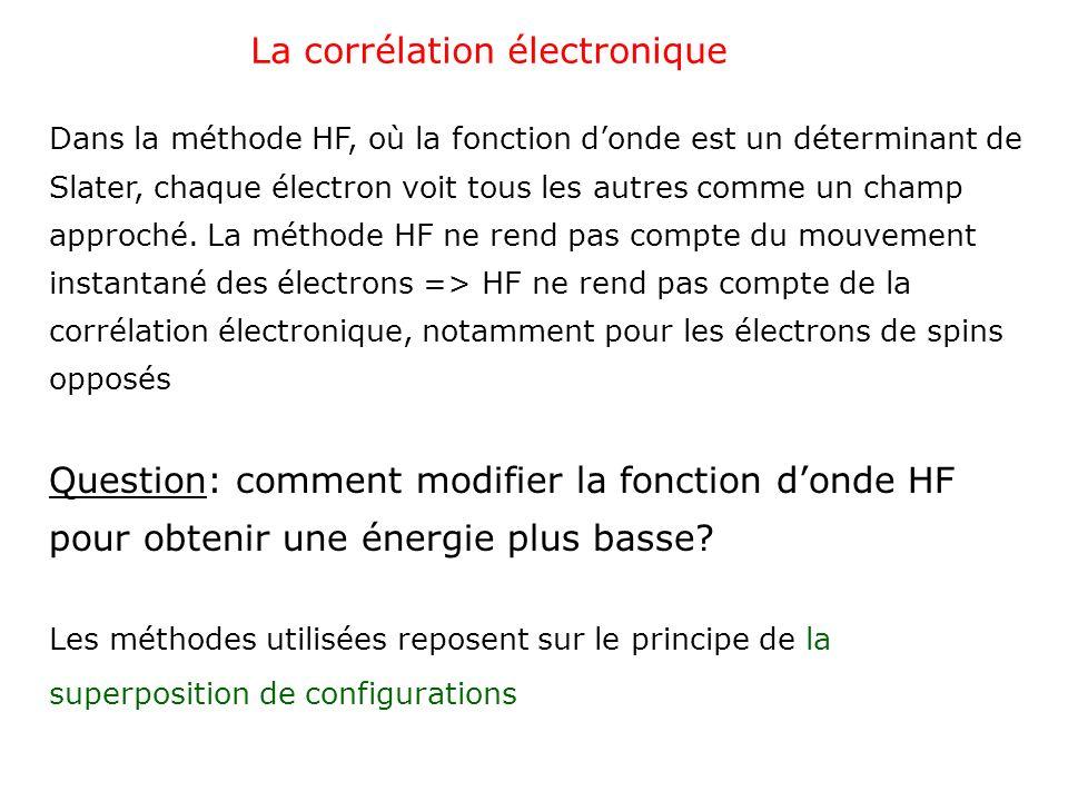 La corrélation électronique Dans la méthode HF, où la fonction donde est un déterminant de Slater, chaque électron voit tous les autres comme un champ